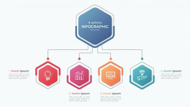 Presentatie zakelijke infographic sjabloon met opties. Premium Vector