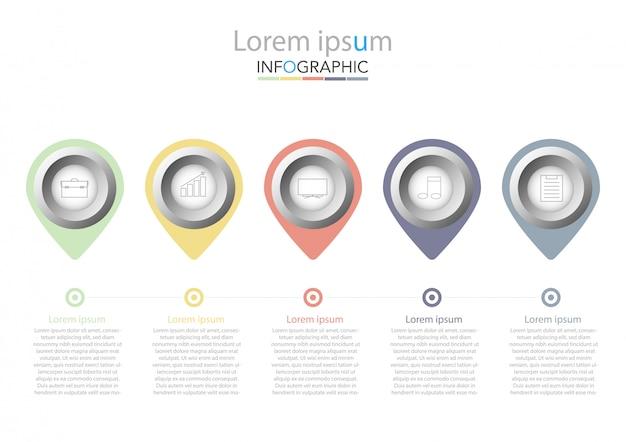 Presentatie zakelijke infographic sjabloon met vijf opties. vector illustratie. Premium Vector