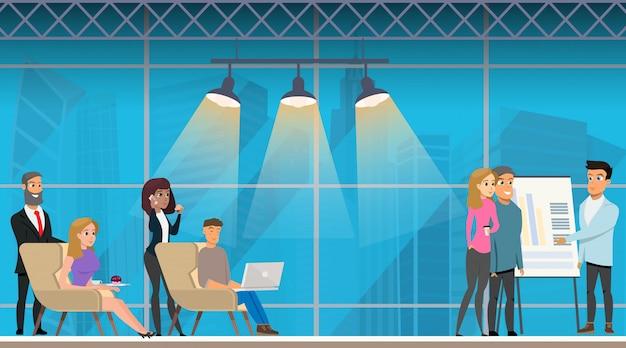 Presentatiebijeenkomst in openspace coworking office. Premium Vector