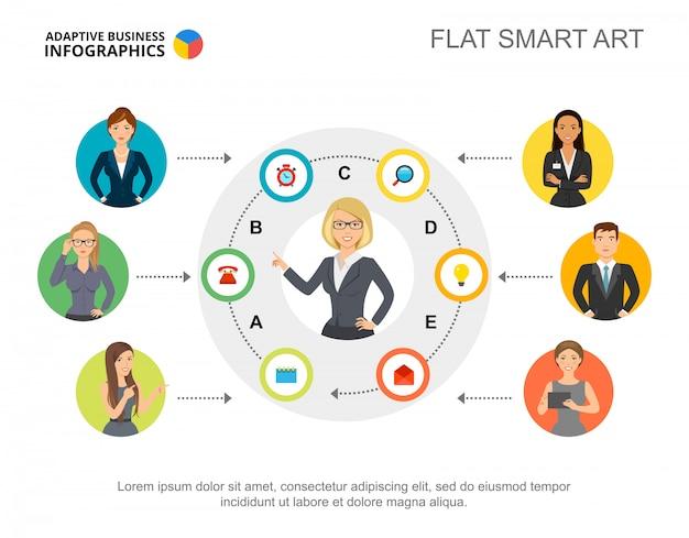 Presentatiedia met informatie over het bedrijfspersoneel. bewerkbare sjabloon, platte slimme kunst. Gratis Vector