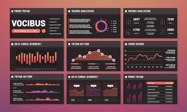 Presentatiesjablonen vector, infographic dashboards. moderne infographic interfacepagina's Premium Vector