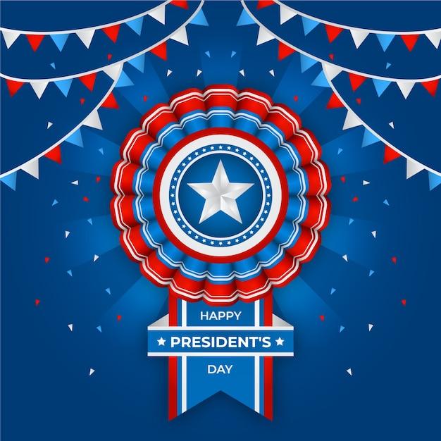 President's day met realistische vlag en slingers Gratis Vector