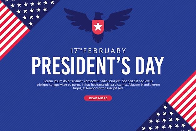 President's day met vlaggen en adelaar Gratis Vector