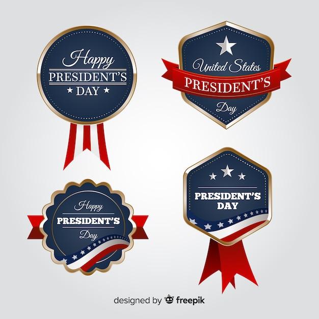 Presidenten dag badge set Gratis Vector