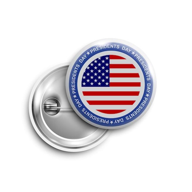 Presidenten dag knop, badge, banner geïsoleerd Premium Vector