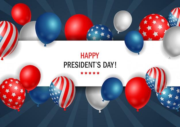 Presidenten dag poster met glanzende ballonnen met horizontale frame. Premium Vector