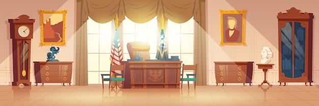 Presidenten ovale kast interieur cartoon vector Gratis Vector