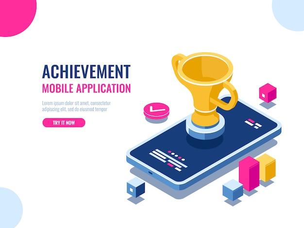 Prestatie in isometrische het onderwijsproces, mobiele telefoon met gouden kop, smartphone van de winnaar Gratis Vector