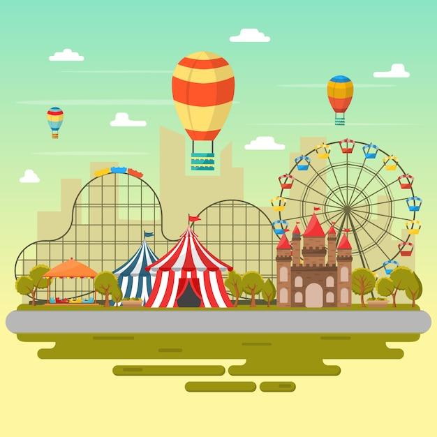 Pretpark circus carnaval festival pret eerlijke landschap illustratie Premium Vector