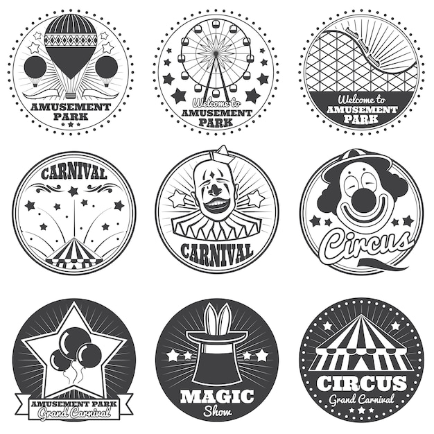 Pretpark, circus en carnaval vector vintage emblemen en etiketten Premium Vector