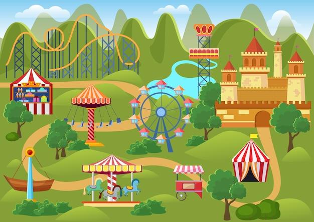 Pretpark concept landschap kaart met platte kermis elementen, kasteel, bergen cartoon afbeelding Premium Vector