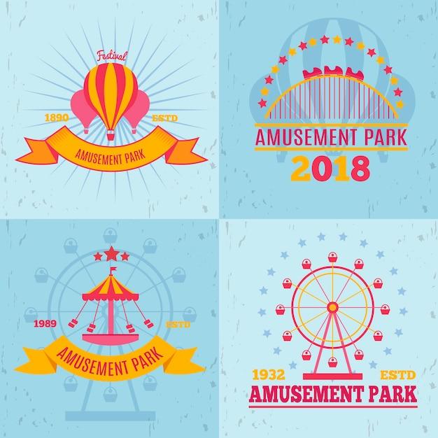 Pretpark emblemen ontwerpconcept met platte logo composities attractie afbeeldingen vormen en decoratieve tekst Gratis Vector