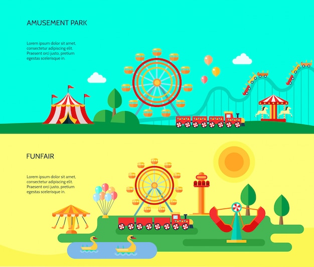 Pretpark funfair park attracties attracties horizontale banners met rondreizende circustent Gratis Vector