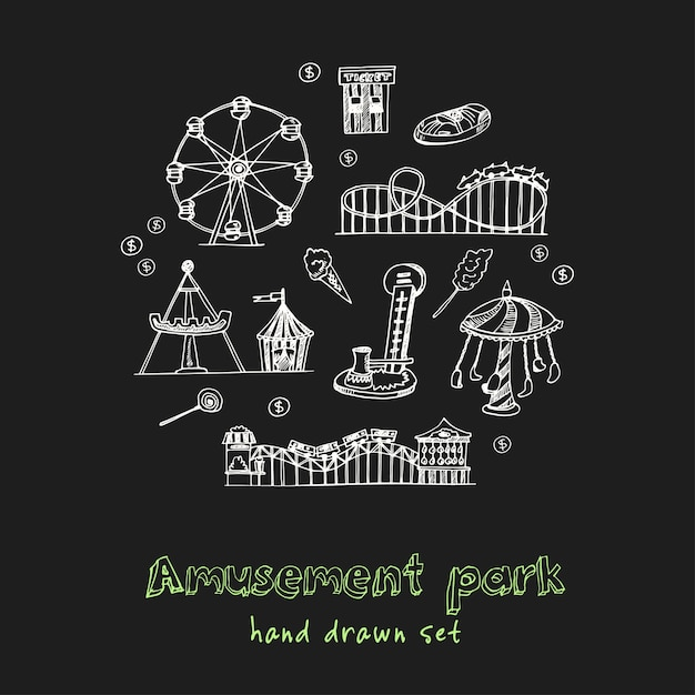 Pretpark hand getrokken doodle set Premium Vector