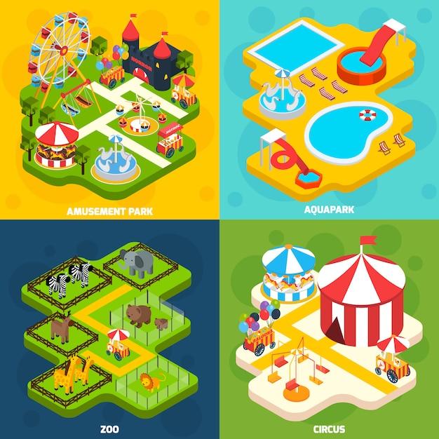 Pretpark isometrisch vier pictogrammen plein Gratis Vector