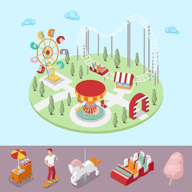 Pretpark met carrousel, reuzenrad en achtbaan. vector isometrische 3d platte illustratie Premium Vector