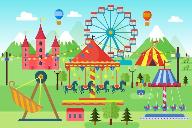 Pretpark met carrousels, achtbaan en luchtballonnenlandschap Premium Vector