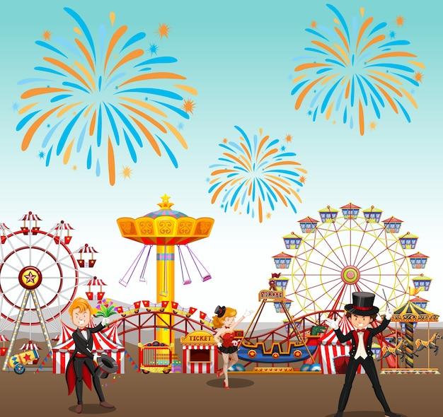 Pretpark met circus en reuzenrad en vuurwerkachtergrond Gratis Vector