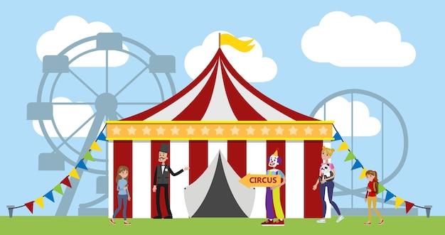 Pretpark met circustent, clowns en carrousels op de achtergrond. kinderen en hun ouders vermaken zich in het park. stedelijk zomerlandschap. illustratie Premium Vector