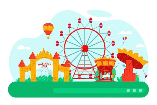 Pretpark met leuke carrousel, illustratie. cartoon ballon, fair wheel attractie en entertainment concept. carnaval kasteel op festival stad, speeltuin landschap. Premium Vector
