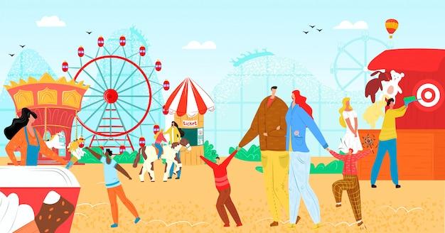 Pretpark met leuke carrousel illustratie. vakantie-entertainment, eerlijk wiel op carnavalfestival voor het karakter van mensen. roller attractie op kermis, recreatie vakantie. Premium Vector