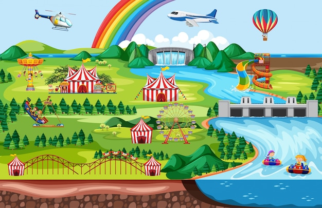 Pretpark met regenboog en vliegtuig en helikopter thema landschap Gratis Vector