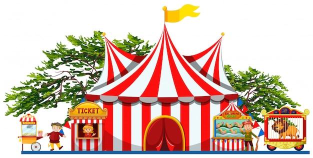 Pretpark met tent en verkopers Gratis Vector