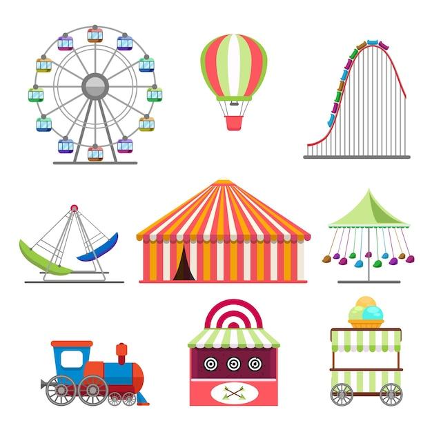 Pretpark pictogrammen instellen in vlakke stijl Gratis Vector
