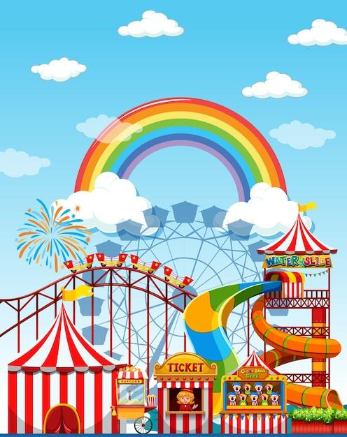 Pretparkscène overdag met regenboog aan de hemel Gratis Vector