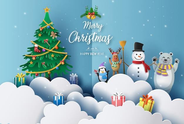 Prettige kerstdagen en gelukkig nieuwjaar 2020 concept met sneeuwpop, rendier, beer en pinguïn. Premium Vector