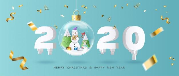 Prettige kerstdagen en gelukkig nieuwjaar 2020 met kerstbal Premium Vector