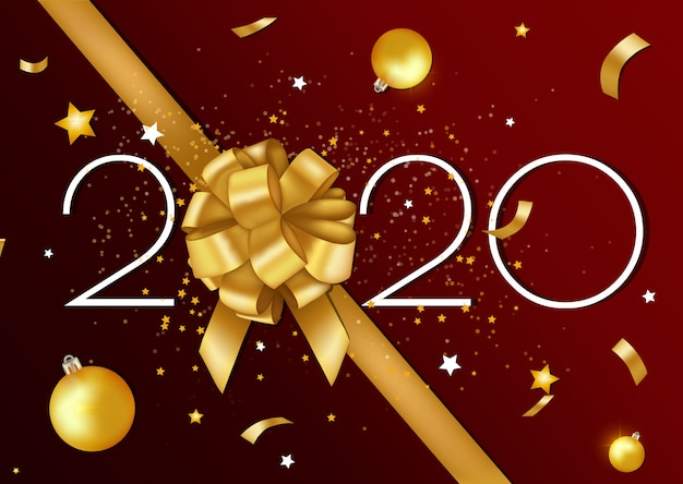 Prettige kerstdagen en gelukkig nieuwjaar 2020 wenskaart en poster met gouden lint en sterren. Premium Vector