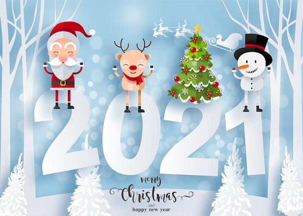 Prettige kerstdagen en gelukkig nieuwjaar 2021 wenskaart met blije karakters. kerstman, sneeuwman en rendier Gratis Vector