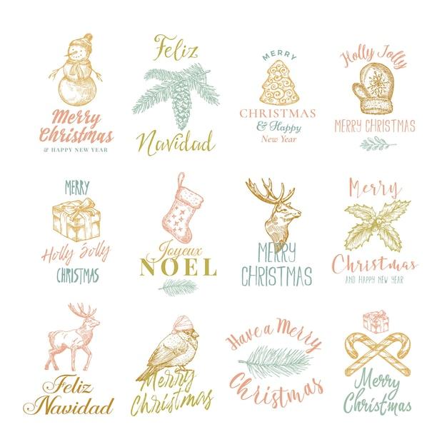 Prettige kerstdagen en gelukkig nieuwjaar abstracte tekens, etiketten of logo sjablonen set Gratis Vector
