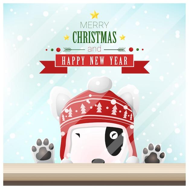 Prettige kerstdagen en gelukkig nieuwjaar achtergrond met hond Premium Vector