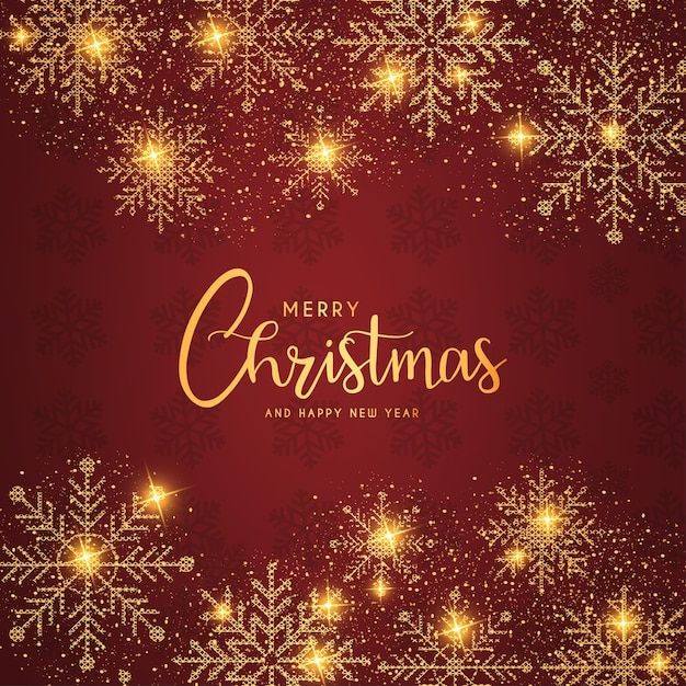Prettige kerstdagen en gelukkig nieuwjaar achtergrond met realistische gouden sneeuwvlokken Gratis Vector