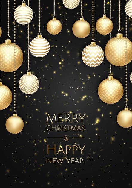 Prettige kerstdagen en gelukkig nieuwjaar achtergrond Premium Vector