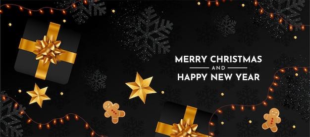 Prettige kerstdagen en gelukkig nieuwjaar banner met realistische kerstelementen Gratis Vector