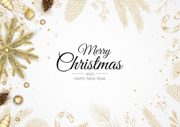 Prettige kerstdagen en gelukkig nieuwjaar banner Premium Vector