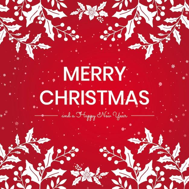 Prettige kerstdagen en gelukkig nieuwjaar berichtsjabloon Gratis Vector