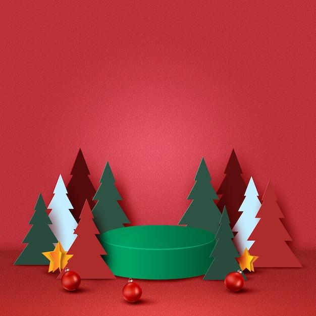 Prettige kerstdagen en gelukkig nieuwjaar concept groen podium versierd met kerstboom kerst bal en sterren op rode achtergrond papier art Premium Vector