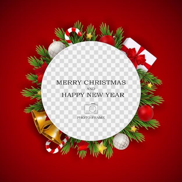 Prettige kerstdagen en gelukkig nieuwjaar fotolijstsjabloon. Premium Vector