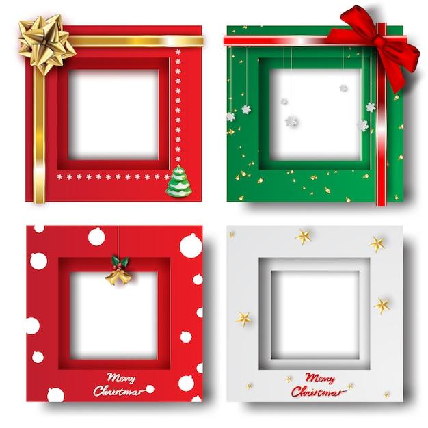 Prettige kerstdagen en gelukkig nieuwjaar frame foto Premium Vector