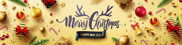 Prettige kerstdagen en gelukkig nieuwjaar gouden kaart Premium Vector