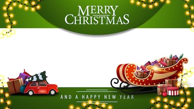 Prettige kerstdagen en gelukkig nieuwjaar groen en wit briefkaartsjabloon Premium Vector