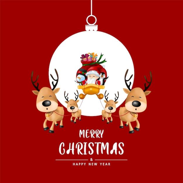 Prettige kerstdagen en gelukkig nieuwjaar in kerstbal op rode achtergrond. Premium Vector