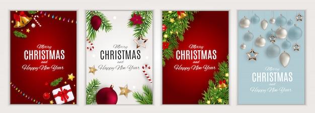 Prettige kerstdagen en gelukkig nieuwjaar kaartenset Premium Vector