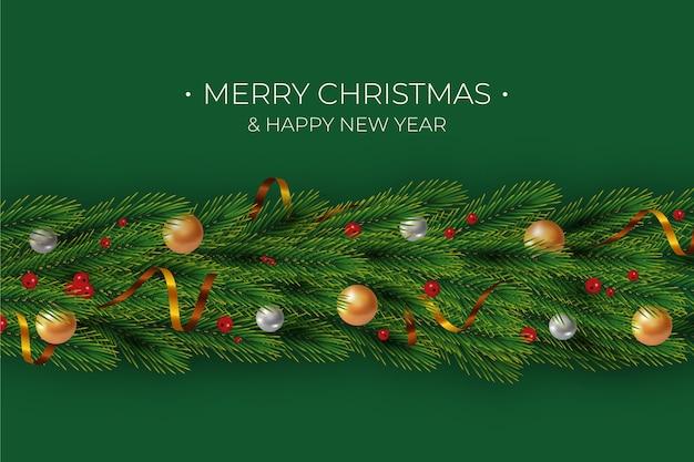 Prettige kerstdagen en gelukkig nieuwjaar klatergoud achtergrond Gratis Vector