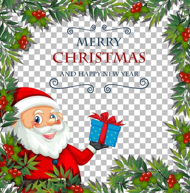 Prettige kerstdagen en gelukkig nieuwjaar lettertype met blad frame en kerstman op transparante achtergrond Gratis Vector
