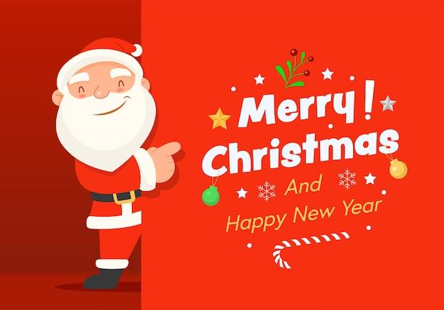 Prettige kerstdagen en gelukkig nieuwjaar met de kerstman. Gratis Vector
